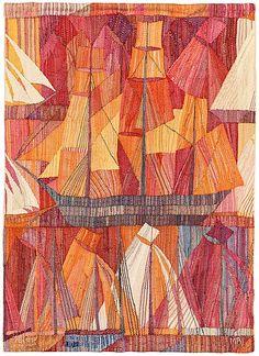 """VÄVD TAPET. """"Skutor, röd"""". Gobelängvariant. 134 x 97 cm. Signerad AB MMF MR.  (AB Märta Måås-Fjetterström, Marianne Richter). Komponerad 1961."""