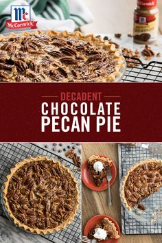 Combine delicious chocolate with the flavor of nutty pecans in this seasonal chocolate pecan pie recipe that takes only 15 minutes of prep. Try this perfectly easy dessert for your next holiday party. Chocolate Pie Recipes, Pecan Recipes, Fall Recipes, Sweet Recipes, Holiday Recipes, Delicious Chocolate, Dessert Recipes, Cooking Recipes, Thanksgiving Desserts