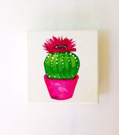 A bright, flowering cactus sits happily in a pink pot in this painting. The canvas measures 4 x 4 x 2, making it a 3D canvas. A 3D canvas requires no additional display accessories - it stands up straight on its own! The painting has been painted using high-quality artist-grade acrylics and has been sealed in a gloss sealer. Sealers prevent dust and dirt sticking to the painting as well as UV and moisture damage. This painting pops and would be an excellent addition to any room that needs…