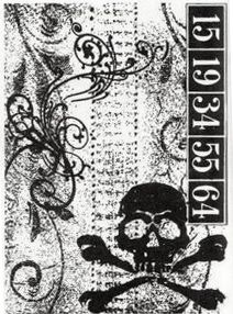 Stampers Anonymous - Tim Holtz - Halloween - ATC - Cling Mounted Rubber Stamps - Skull Collage