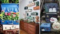 Two ideas for recycling old suitcases decorating with vine items home decor all interior design house 40 creative ways of re using old Fabulous Diy Decorating Ideas With Repurposed. Diy Projects For Kids, Fun Crafts For Kids, Recycling, Kids Inspire, Old Suitcases, 4th Of July Decorations, Spooky Decor, Cool Diy, Christmas Diy