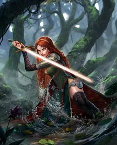 Warrior female princess from brave with sun sword in the woods red hair