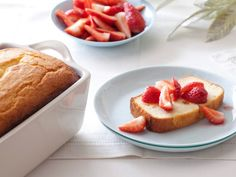 Ricotta Orange Pound Cake with Strawberries. from Giada.  Dense, and great with any fruit.
