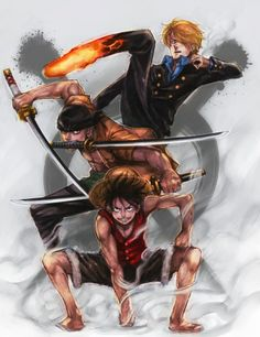 Strawhat Monster Trio: Monkey D. Luffy, Roronoa Zoro, Sanji One Piece Anime One Piece, One Piece ルフィ, One Piece Luffy, Roronoa Zoro, Zoro Nami, Manga Anime, Anime Art, Hot Anime, Manga Girl