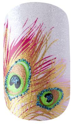 Kiss Nail Dress- Peignoir so pretty Kiss Nails, Get Nails, Love Nails, Hair And Nails, Garra, Peacock Nails, Feather Nail Art, Manicure Y Pedicure, Nail Candy