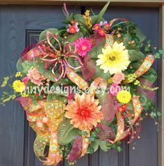 Spring/Summer Deco Mesh Wreath. $130.00, via Etsy.