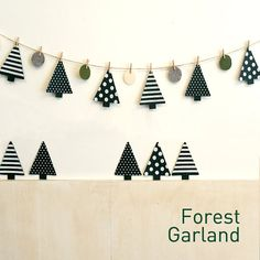 Items similar to Felt Forest Garland on Etsy - Weihnachten Christmas Makes, Christmas Holidays, Christmas Crafts, Christmas Ornaments, Halloween Decorations, Christmas Decorations, Diy And Crafts, Crafts For Kids, Holiday Banner