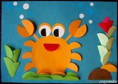 Sommeridee. Eine Krabbe nur aus Kreisen bastelen.