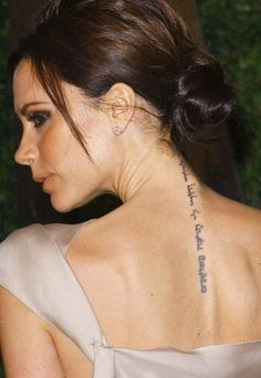 Female celebrity tattoos, Victoria Beckham tattoo.. what does it mean?