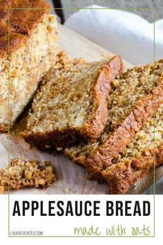 Perfectly moist and delicious, gluten-free applesauce bread the whole family will love! Baking With Applesauce, Applesauce Bread, Oatmeal Bread, Food Network Recipes, Real Food Recipes, Baking Recipes, Snack Recipes, Snacks, Gluten Free Sweets