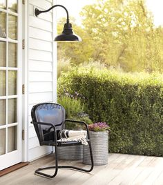 Love the vintage chair and the plants in galvanized buckets... Carson Gooseneck Porch | Rejuvenation
