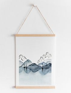 affiche montagne lac paysage aquarelle Tapestry, Portrait, Frame, Art, Water Colors, Mountain, Posters, Board, Modern