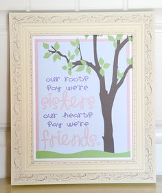 Art QUOTE - Sisters  Friends  -  Print - 8x10 - Inspirational quote - Children Art Print. $10.00, via Etsy.