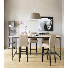 Mueble de TV industrial negro de metal y madera maciza An. 117 cm ...