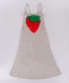 Loving this Mia Belle Baby Gray & Red Strawberry A-Line Dress - Toddler & Girls on #zulily! #zulilyfinds
