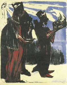 Emil Noldes, Die heiligen drei Könige.1913, Lithographie. This painting was banned by the Nazi regime and exhibited at the Degenerate art exhibition in Munich in 1937.
