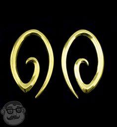 Oval Spiral Brass Ear Weights
