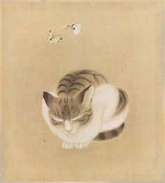 Sleeping Cat and Butterflies from the album Birds and Flowers, Japanese, first half of the 19th c.