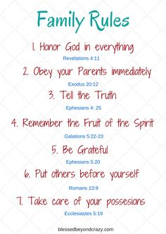 family rules based on biblical truths