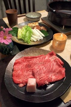 Photo: Japanese Dinning Table Setting for Hot Pot with Kobe Wagyu Beef and Veggies | Sukiyaki Nabe すき焼き鍋