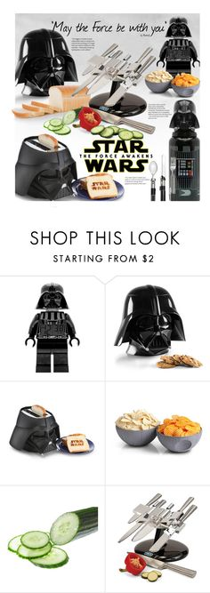 """Star Wars Kitchen: The Force Awakens"" by beebeely-look ❤ liked on Polyvore featuring interior, interiors, interior design, home, home decor, interior decorating, ThinkGeek, kitchen, starwars and theforceawakens"