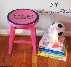 the little black door: DIY monogram stool - color outside the lines. #stool #monogram