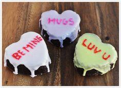 Conversation Heart Brownie Bites for Valentine's Day