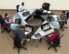 Collaborative Office and Classroom Furniture Improve Learning Team Work Industrial Office Design, Modern Office Design, Office Furniture Design, Workspace Design, Office Workspace, Office Interior Design, Open Space Office, Creative Office Space, Corporate Interiors