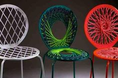 How To: Holy String Art, Batman! 6 of the Coolest Thread Art Projects Ever Funky Chairs, Colorful Chairs, Cool Chairs, Bar Chairs, Stools, Dining Chairs, Minimalist Home Interior, Modern Interior Design, Funky Furniture