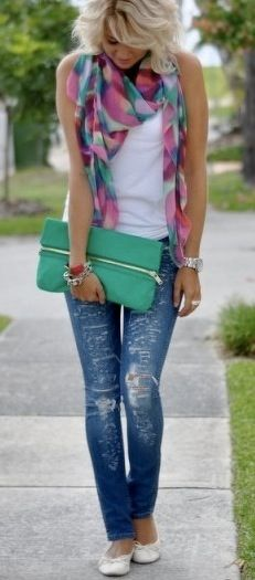 Women's Spring and Summer Fashion Tips - Accessorize a white tank top and jeans with a colorful scarf and matching purse