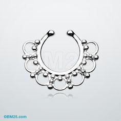 Majestic Ornate Filigree Fake Septum Clip-On Ring