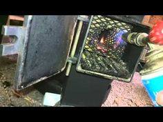 Rocket Stove on Pellets: Lighting on / Raketenofen: Pellets anzünden - YouTube