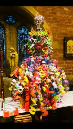 Cihuly inspired dress made from plastic bottles.