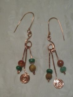 Coordinating earrings for the copper necklace.$30.