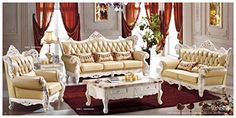 Ma Xiaoying Genuine Leather and Luxury Classical Collection 3pc Set (Sofa ,Chair and Loveseat)Light yellow by Ma Xiaoying