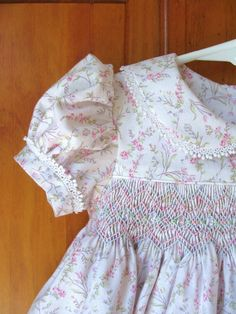 Hand smocked baby girl dress pink trailing roses on white Size 6Mo.