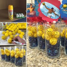 Water polo table center pieces I made for my sons grad party Volleyball Decorations, Volleyball Party, Volleyball Ideas, Softball, Basketball, Sports Banquet Centerpieces, Women's Water Polo, Water Polo Players, Senior Night Gifts
