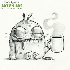 Morning coffee monster doodle