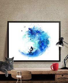 Surf Watercolor Art, Surf Print, Watercolor Painting, Watercolor Art Poster…