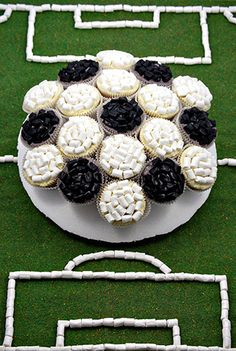 Soccer ball cupcakes with marshmallows and licorice
