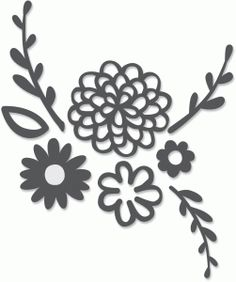Silhouette Design Store: flowers and leaves