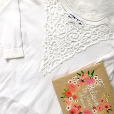 NWT French Connection White Knit w/ Lace Back Cover pic shows the detailed BACK of this piece! Front view is a crew neck, also features 3/4 sleeves and high-low hemline. Sized for a slim fit. French Connection Tops