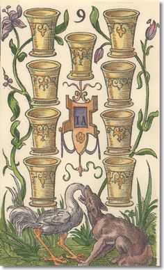 vintage 9 of cups tarot card --> http://All-About-Tarot.com <--
