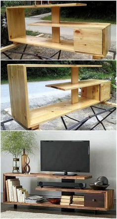 Now enhance the charming look of your lounge by crafting this DIY pallet tv stand project. This smartly constructed pallets tv stand design seems modern as well as stylish according to latest furniture trends. Tv Pallet, Pallet Tv Stands, Wood Pallets, Pallet Lounge, Pallet Walls, Diy Pallet Furniture, Diy Pallet Projects, Furniture Ideas, Rustic Furniture