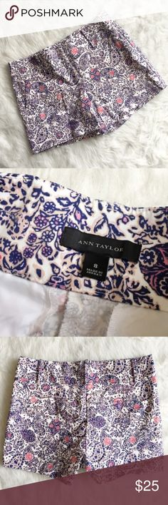 Ann Taylor Paisley Floral City Shorts Relaxed enough for uptown. Sleek enough for downtown. Paisley pop: the classic heritage print gets a new spin with fresh colors that instantly brighten up your look. Contoured waistband. Front zip with double hook-and-bar closure. Belt loops. Front off-seam pockets. Back welt pockets. 4 1/2 inch inseam. --------- NWOT condition. Size 8. Ann Taylor Shorts