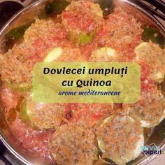 Dovlecei umpluți cu quinoa, aromați cu cimbru, nucșoară și busuioc.Quinoa -o pseudo-cereală minune,care aduce fibre,vitamine, antioxidanți Quinoa, Romanian Food, Gluten, Beef, Cooking, Health, Cholesterol, Meat, Cuisine