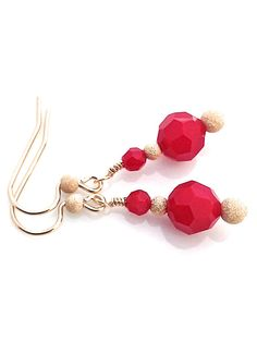 Red and Gold Earring by #UrbanClink $24.00  #ChristmasEarring #RedAndGold #GoldEarrings