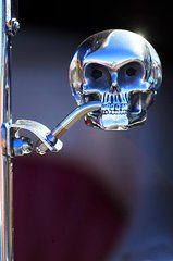 Rat Rod Art - Hot Rod Skull Rear View Mirror by Jill Reger