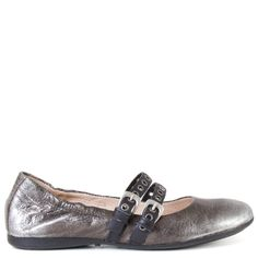 This is not your typical Mary Jane flat! Mjus Alta features a stylish metallic finish leather and bold metal hardware along the straps.This pair will make a striking statement to any neutral outfit you match with this.   FREE Shipping in the contiguous USA Women's flat mary jane shoe Made in Bosnia and Herzegovina Hand crafted vegetable- tanned leather upper with a metallic finish Durable leather upper,lining, and cushioned footbed Flexable rubber sole 1/4 inch heel Slip-on style Sim...