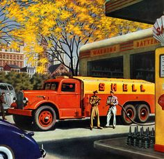 Autocar Tanker  This beautiful illustration from 1943 was painted by William Campbell for Autocar Trucks. Popular with boys of all ages.